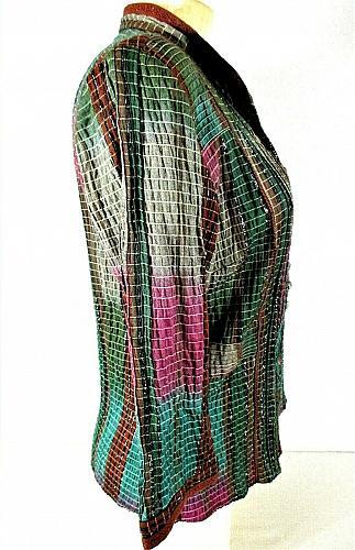 Christopher & Banks womens Small purple green SILVER METALLIC stretch top X)PMTD