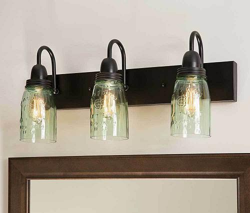 Bath Vanity Lighting Glass Mason Jar 3 Lamp Wall Fixtures Farmhouse Country New