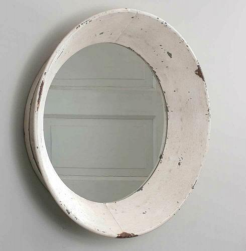 Round Distressed Dutch Wall Mirror Country Rustic Farmhouse Bathroom Vanity