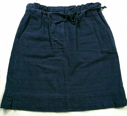 Loft Womens A Line Skirt Size XSP Solid Blue Pull On Drawstring
