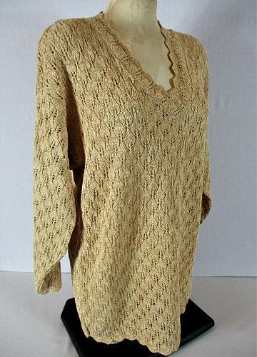 AVON womens Small L/S beige GOLD metallic CROCHET knit V neck sweater (S)