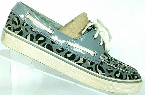 Sperry Top Sider Gray Black White Geometric Canvas Boat Deck Shoes Size 7.5 M