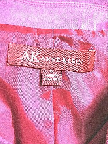 ANNE KLEIN womens Sz 8 L/S pink 1 snap enclosure fully LINED jacket (A3)P