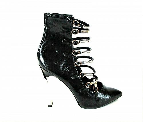 Shoe Republic La Black Patent Ankle Bootie Style Heels Shoes Women's 9 (SW8)
