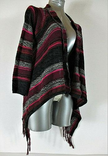 ARIZONA womens Large 14 L/S pink black gray OPEN FRONT cardigan sweater (H)