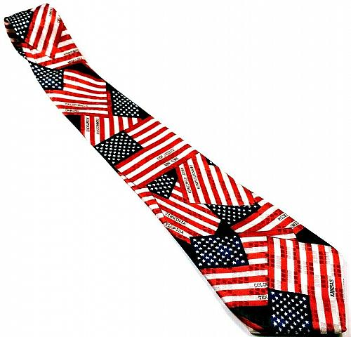 American Flag Patriotic States Stars Stripes Red White Blue Men's Necktie