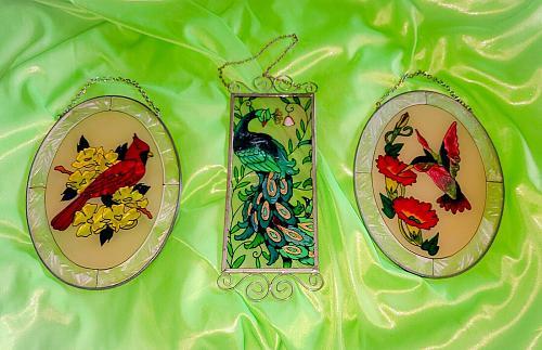 Vintage 1970s 1980s Set Of 3 Stained Glass Window Suncatchers