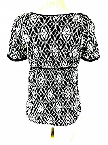 RQT womens Small S/S black white KEYHOLE tie neck EMPIRE waist side ZIP top (J)