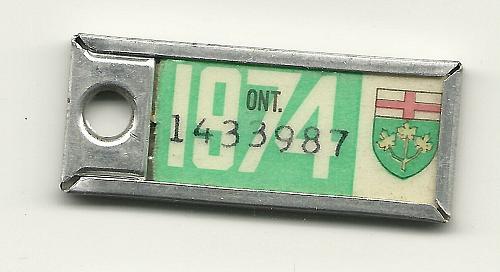 War Amps Key Tag Fob 1974 License Plate Ontario 1433987 Vintage