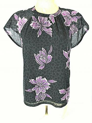 APT 9 womens Small S/S black white PURPLE FLORAL stretch fully LINED top (B4)