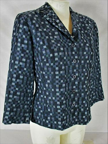 GIANNI womens Sz 8 3/4 sleeve blue WOOL blend button up FULLY LINED jacket (Y)P