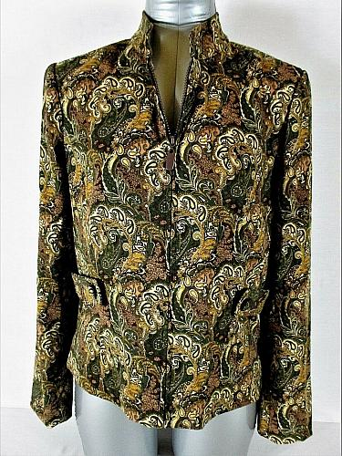 DRESSBARN womens Small L/S multi color FULLY LINED FULL ZIP jacket (A5)P