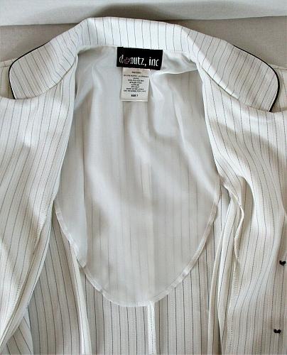 DONUTZ INC womens Sz 7 juniors L/S white PINSTRIPED button down jacket (C2)