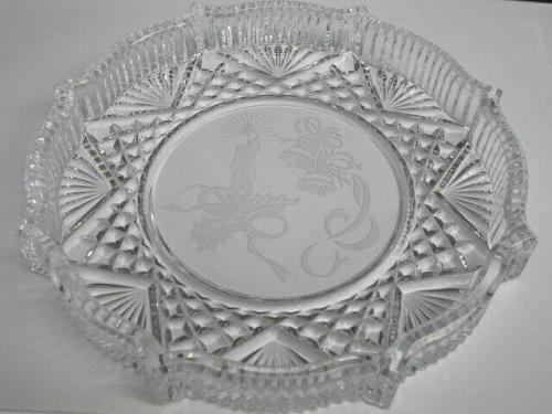 Waterford crystal Signed Christmas plate bells and candle etched
