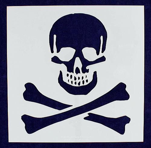 "Large Skull & Bones Stencil- 16"" x 16"" Painting/Crafts/Template -Mylar 14 Mil"