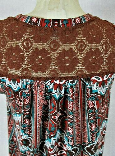 ABSOLUTELY FAMOUS womens Medium sleeveless brown red LACE TRIM stretch top (T)