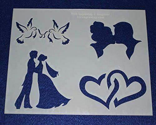 "Mylar 2 Pieces of 14 Mil 8"" X 10"" Wedding Stencils- Painting /Crafts/ Templates"