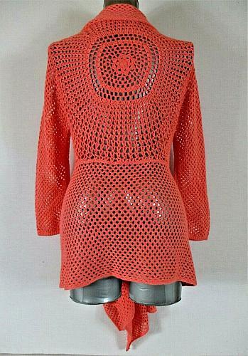 UNITED STATES SWEATERS womens XL L/S peach CROCHET KNIT cardigan sweater H)