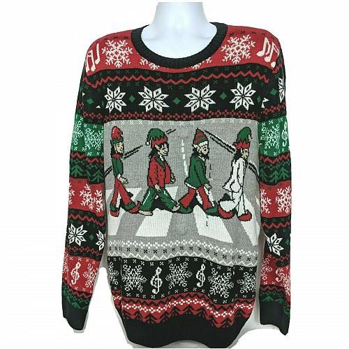 NWT Ugly Christmas Sweater Beatles Elves Abbey Road Light Up Lg Long Sleeve