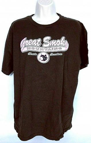 Great Smoky Mountains Women's T-Shirt Large Brown Pink Short Sleeve