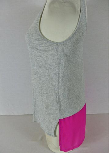 EXPRESS womens Small sleeveless gray NEON pink SHEER PANEL stretch tank top (T)