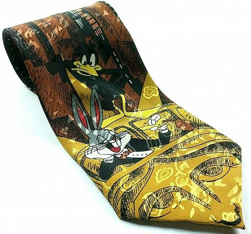 Looney Tunes New York City Bugs Bunny Daffy Statue Of Liberty Skyscraper Tie