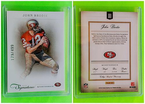 NFL JOHN BRODIE SAN FRANCISCO 49ERS HOF 2012 PANINI PRIME SIGNATURES /149 MINT