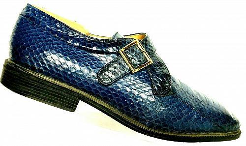 Giorgio Brutini Men's Blue Snakeskin Monk Strap Loafer Shoe Size 9.5 M