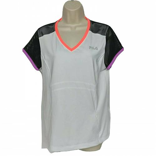 Fila Sport Live In Motion Womens Athletic Top Large White Black Zip Pocket