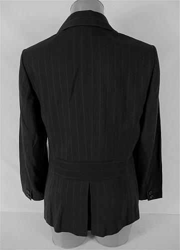 ANN TAYLOR womens Sz 10 L/S black GRAY pinstripe WOOL button LINED jacket (B5)P