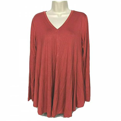 LOGO by Lori Goldstsein Solid Swing Top w/Front and Back V-Necks Size Small Red