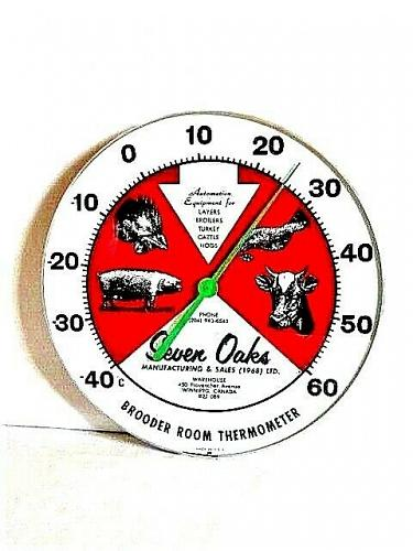 "Vintage Rare 1960s Seven Oaks Pig Cow Chicken Farm 12"" Metal Thermometer Sign"