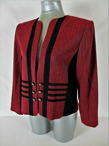 PERCEPTIONS womens 12 petite L/S red black BUTTON ACCENT open front jacket (A9)