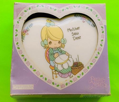 Vintage Precious Moments Porcelain Heart Shaped Jewelry Box GEM MNT