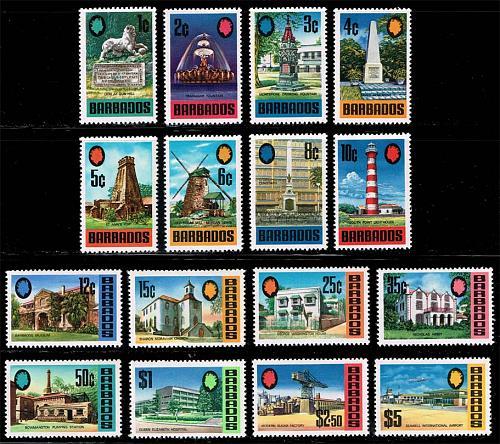 Barbados #328-343 Tourism Set of 16; most MNH (9Stars) |BAR0343set-01