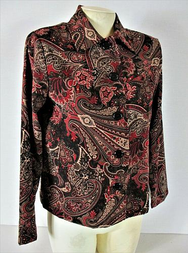 BRIGGS NEW YORK womens Sz PS L/S multicolor BUTTON DOWN soft stretch jacket (B3)