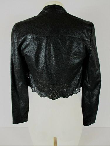 INC womens XS L/S black BOLERO cut out floral trim OPEN FRONT lined jacket (L)