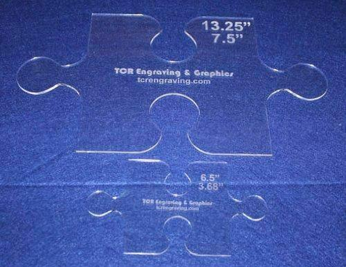 """2 Piece Small & Large Puzzle Template Set - Clear 1/8"""""""