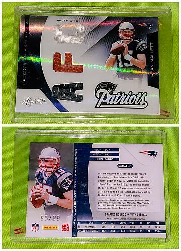 NFL Ryan Mallett Patriots 2011 Panini Absolute Triple Relic SP/99 Mint
