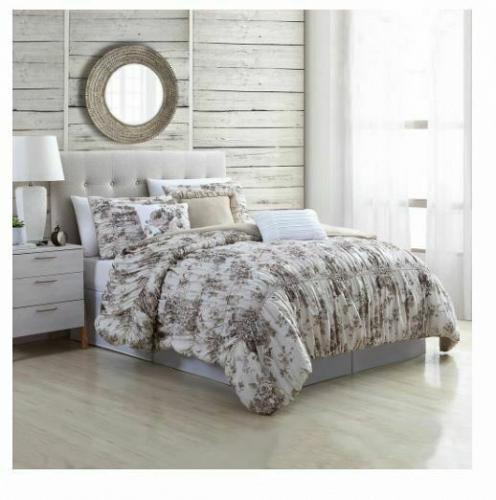 Queen 6 Piece Cottage Style Bounty Floral Textured Comforter Set Pillows Shams