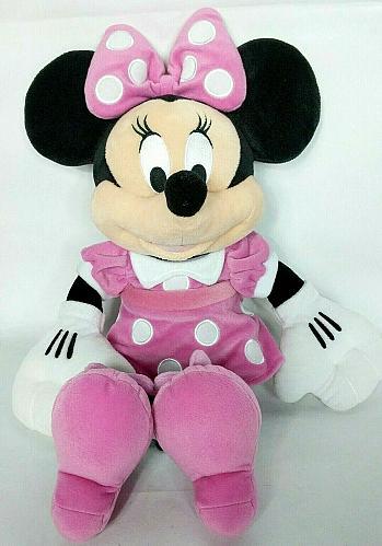 "Disney Collections Minnie Mouse Pink Polka Dot Plush Stuffed Animal 18"""