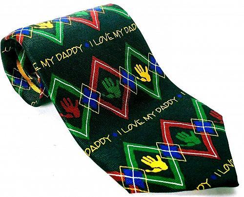 Ralph Marlin I Love My Daddy Argyle Men's Silk Necktie Novelty Black Red Green