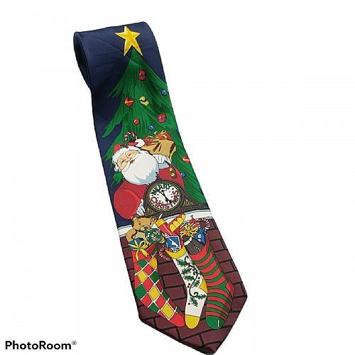 Ho Ho Ho Santa Claus Christmas Tree Stockings Presents Gifts Novelty Necktie