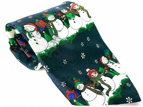 Yule Tie Greeting Men's Dress Necktie 100% Polyester Christmas Snowman Novelty