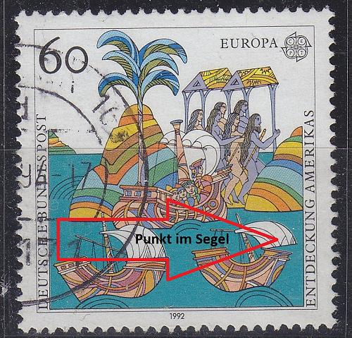 GERMANY BUND [1992] MiNr 1608 F5 ( O/used ) [01] CEPT Plattenfehler