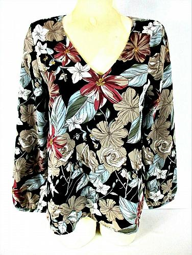 Lucca womens Small L/S black red blue CROSS BACK lined floral top NWT (R)