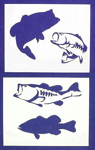 Bass (fish) Stencils-8x10 -2 pc set-Mylar 14mil - Painting /Crafts/ Templates