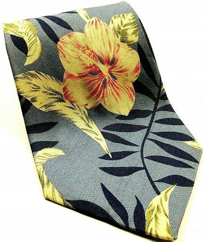 Tommy Bahama Hawaiian Floral Tropical Palm Leaves Novelty Silk Tie