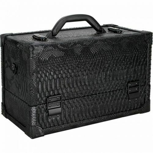 Black Python 6 Tiers Accordion Trays Professional Cosmetic Makeup Train Case