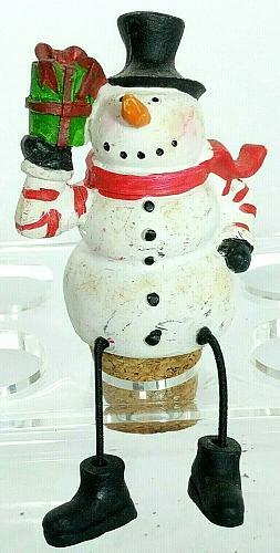 "Snowman Holding Presents Dangling Legs Wine Stopper Cork 2.75"""